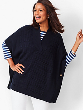 Cable V-Neck Poncho