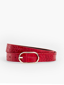 Reversible Belt - Pebbled Leather/Crocodile Print