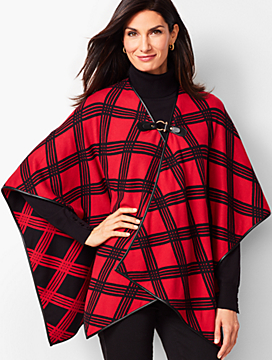 Leather-Tab Country Plaid Ruana