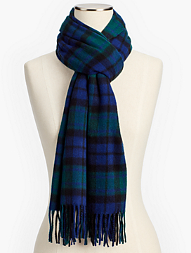 Cashmere Scarf - Black Watch Plaid