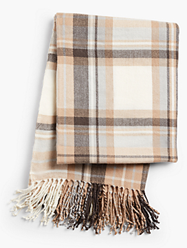 Merry Plaid Fringe Blanket