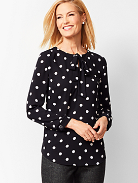 Tie-Detail Dot Top