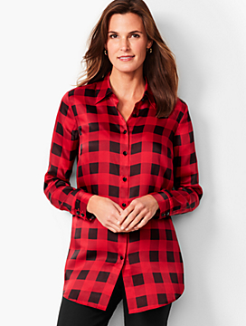 Buffalo-Plaid Button-Front Shirt