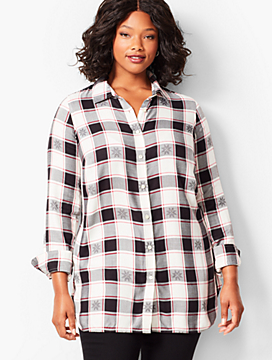 Longer-Length Button-Front Shirt - Snowflake Print