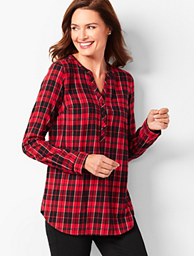 Plaid Classic Cotton Band-Collar Popover