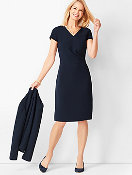 Easy Travel Faux-Wrap Sheath Dress