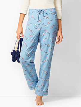 Drawcord Pajama Pants - Birds-with-Scarves