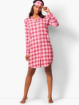 Flannel Sleep Shirt - Glen-Plaid