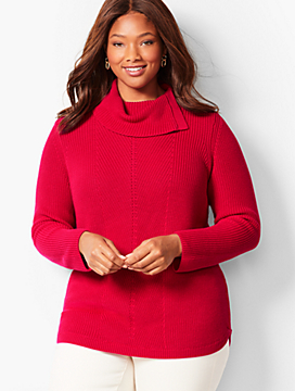 Shaker-Stitch Cowlneck Sweater - Solid