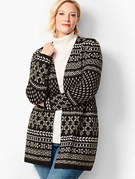 Open-Front Fair Isle Cardigan