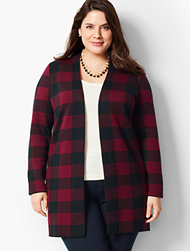 Open-Front Buffalo Plaid Cardigan