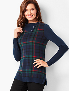 Plaid Split-Cowlneck Sweater