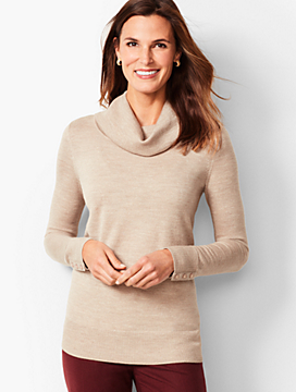 Merino Button-Cuff Cowlneck Sweater - Gold Shimmer