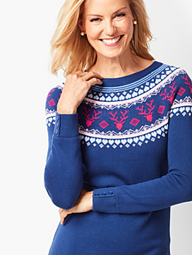 Reindeer-Print Fair Isle Sweater