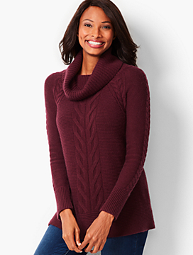 Cashmere Cable-Twist Cowlneck Sweater