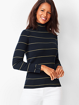 Stripe Button-Cuff Turtleneck Sweater