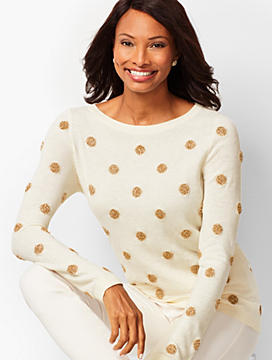 Tinsel-Dot Bateau-Neck Sweater
