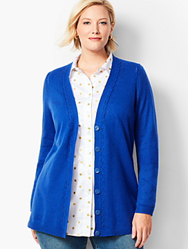 Plus Size Exclusive Boyfriend Pointelle Cardigan
