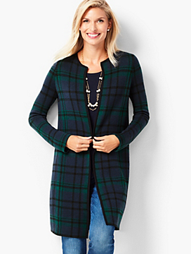 Black Watch Plaid Open-Front Merino Cardigan