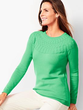 Cable Yoke Cotton Blend Sweater