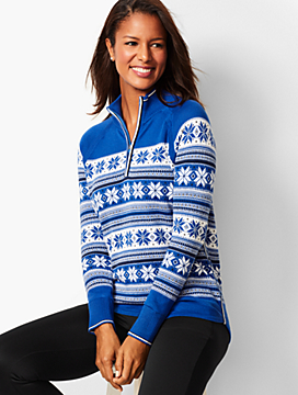Half-Zip Snowflake Sweater