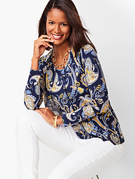 Charming Cardigan - Three-Quarter Sleeve - Paisley