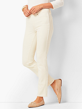 Beaded Tuxedo-Stripe High-Rise Straight-Leg Ankle Jeans - Natural