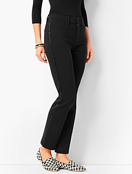 Beaded Tuxedo-Stripe High-Rise Straight-Leg Ankle Jeans - Never Fade Black