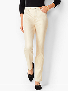 High-Rise Straight-Leg Jeans - Vanilla Sparkle