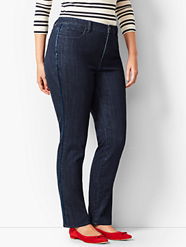 High-Rise Straight-Leg Jeans - Beaded Tuxedo Stripe
