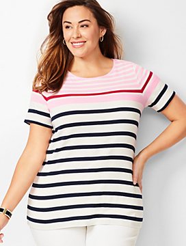 Cotton Crewneck Tee - Multi-Color Stripe