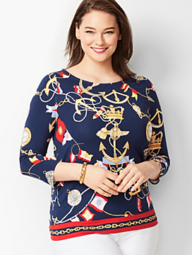 Nautical-Print Bateau-Neck Top