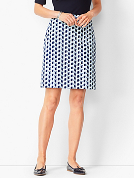 Swirl Print Canvas Stretch Skirt