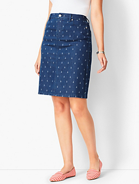 Classic Denim Skirt - Anchor Print