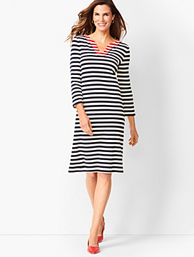 Trimmed Cotton Knit Shift Dress - Stripe