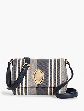 Stripe Heart Turnlock Crossbody Bag