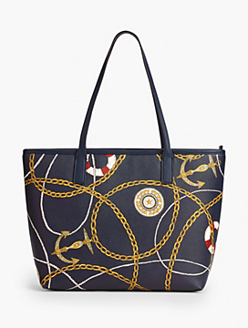 Nautical-Print Leather Tote