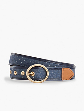 Leather-Trim Cotton Dot Belt