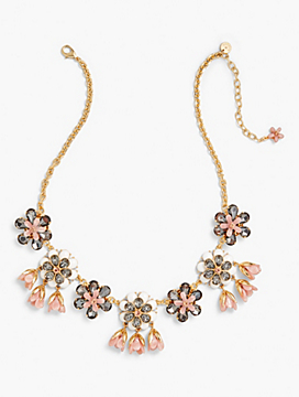 Marbled Blooms Statement Necklace - Rose Quartz