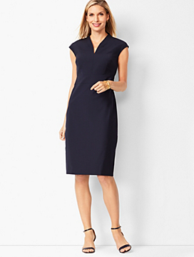 Seasonless Wool Faux-Wrap Sheath Dress