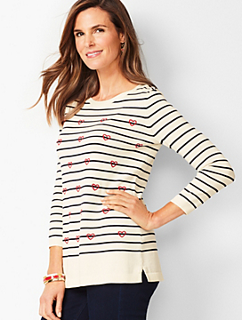 Hearts & Stripes Crewneck Sweater