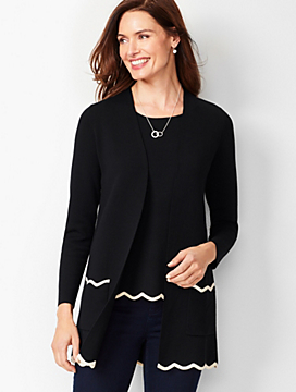 Open-Front Scalloped Cardigan