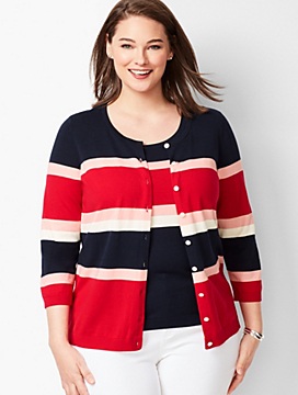 Charming Cardigan - Three-Quarter Sleeve  - Colorblock