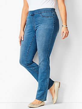 Plus Size Pull-On Straight-Leg Jeggings - Aurora Wash