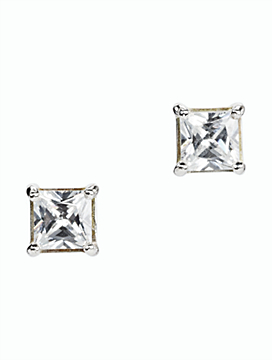 Faceted Zirconia Sterling Silver Stud Earrings