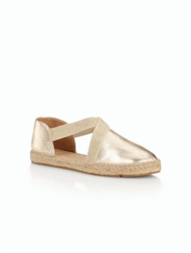 Ivy D'Orsay Espadrille Flats - Metallic Leather