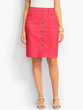 Button-Front Colored Denim Skirt