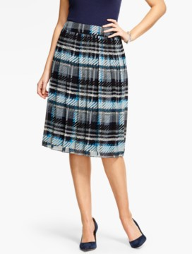 Soft Plaid Pleated Skirt