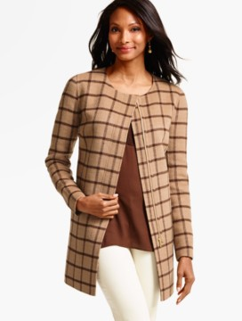 Double-Face Zip-Front Topper - Houndstooth Plaid