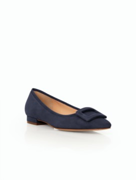 Avery Buckle Flats-Suede